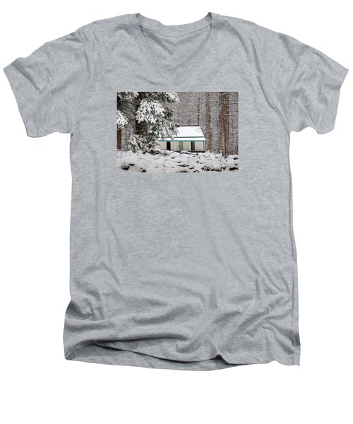Men's V-Neck T-Shirt featuring the photograph Alfred Reagan's Home In Snow by Debbie Green