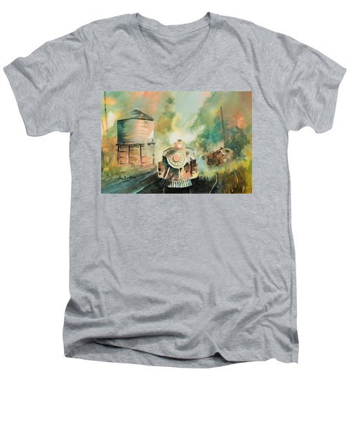 All Aboard Men's V-Neck T-Shirt by Lee Beuther