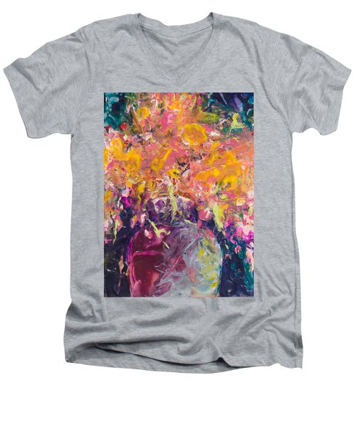 All Aglow Men's V-Neck T-Shirt by Lee Beuther