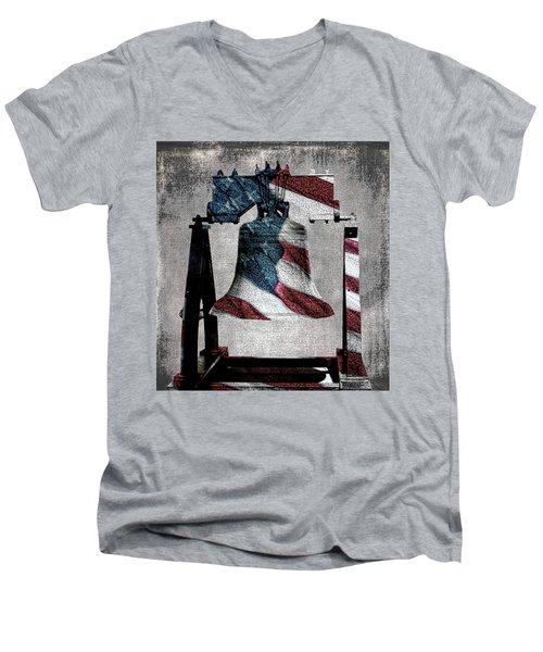 All American Liberty Bell Art_denim Men's V-Neck T-Shirt by Lesa Fine