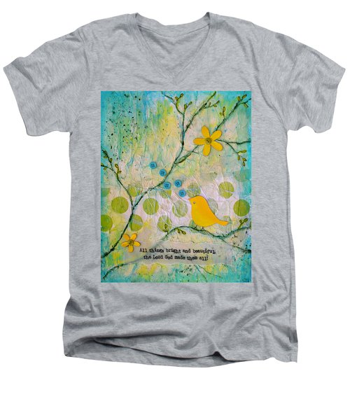 All Things Bright And Beautiful Men's V-Neck T-Shirt by Carla Parris