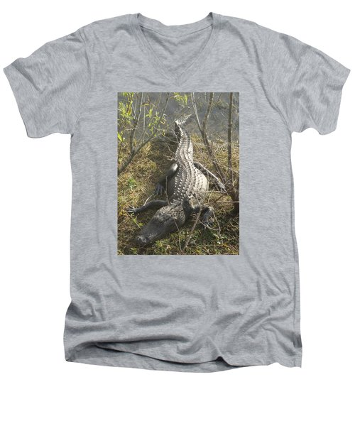 Men's V-Neck T-Shirt featuring the photograph Alligator by Robert Nickologianis