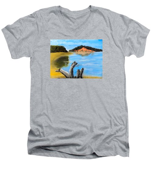 Men's V-Neck T-Shirt featuring the painting Allonah Beach Tasmania by Pamela  Meredith