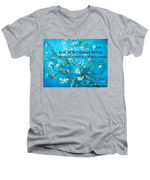 Almond Blossom Branches Men's V-Neck T-Shirt by Eric  Schiabor