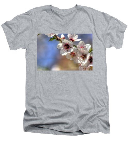 Men's V-Neck T-Shirt featuring the photograph Almond Blossoms by Jim and Emily Bush