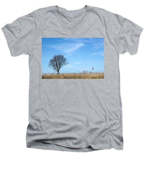 Alone Tree In The Reeds Men's V-Neck T-Shirt by Kennerth and Birgitta Kullman