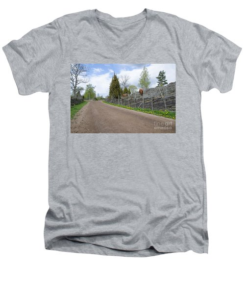 Along An Old Fashioned Road Men's V-Neck T-Shirt by Kennerth and Birgitta Kullman