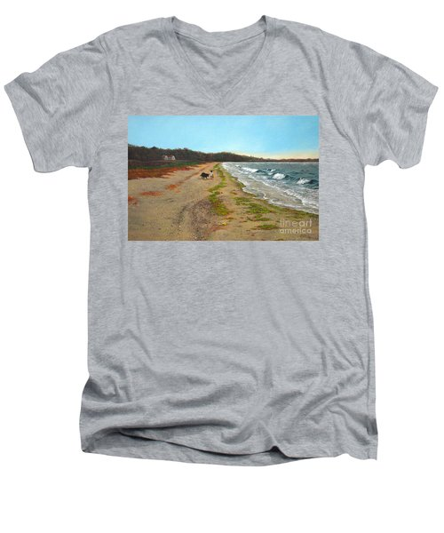 Along The Shore In Hyde Hole Beach Rhode Island Men's V-Neck T-Shirt