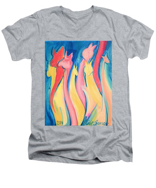 Alpaca Flames Men's V-Neck T-Shirt