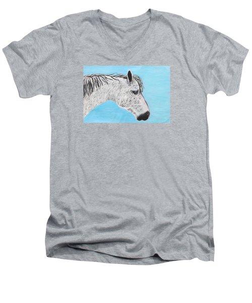 Alvaro Stallion Men's V-Neck T-Shirt by Jeanne Fischer