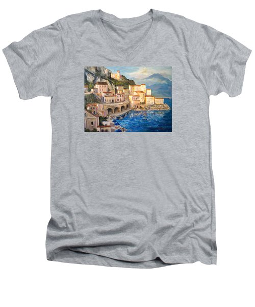 Men's V-Neck T-Shirt featuring the painting Amalfi Coast Highway by Alan Lakin