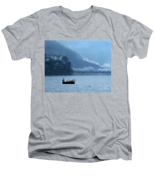 Men's V-Neck T-Shirt featuring the photograph Amalfi To Capri. Italy by Jennie Breeze