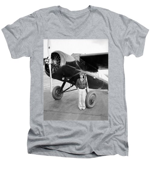 Amelia Earhart And Her Plane Men's V-Neck T-Shirt
