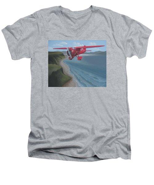 Amelia's Lockheed Vega Men's V-Neck T-Shirt by Stuart Swartz