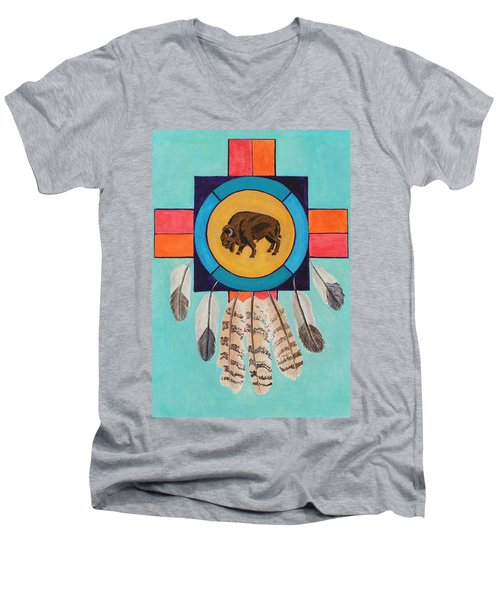 American Bison Dreamcatcher Men's V-Neck T-Shirt