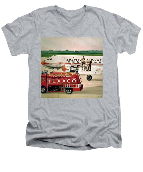 American Dc-6 At Columbus Men's V-Neck T-Shirt
