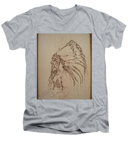 American Horse - Oglala Sioux Chief - 1880 Men's V-Neck T-Shirt by Sean Connolly
