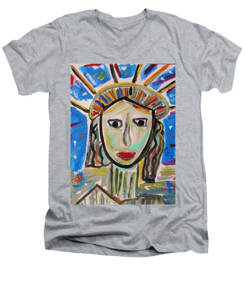Men's V-Neck T-Shirt featuring the painting American Lady by Mary Carol Williams