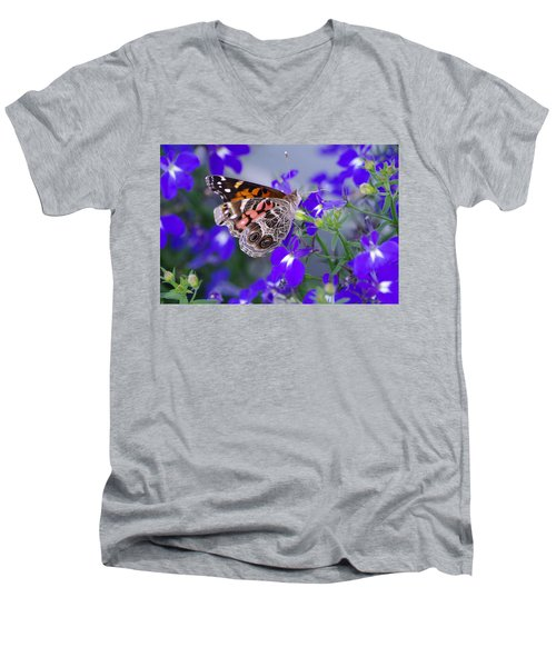 American Lady On Lobelia Men's V-Neck T-Shirt