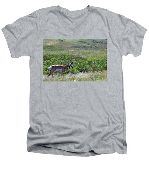 Men's V-Neck T-Shirt featuring the photograph American Pronghorn Buck by Karon Melillo DeVega