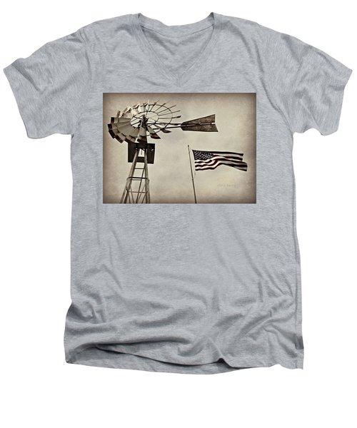 Americana Men's V-Neck T-Shirt by Chris Berry