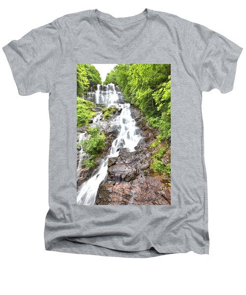 Amicalola Falls Men's V-Neck T-Shirt by Gordon Elwell