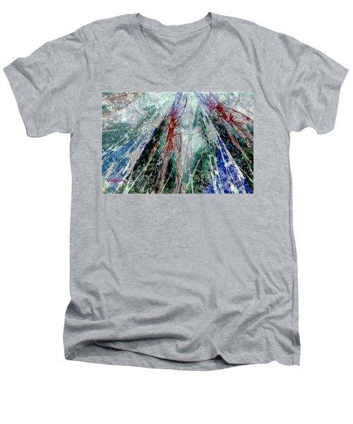 Amid The Falling Snow Men's V-Neck T-Shirt by Seth Weaver