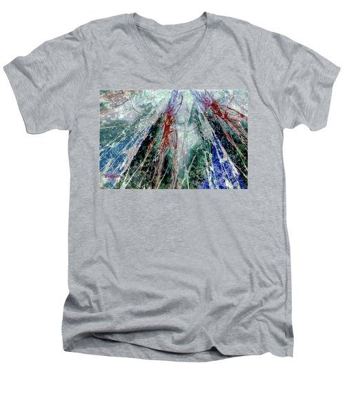 Amid The Falling Snow Men's V-Neck T-Shirt