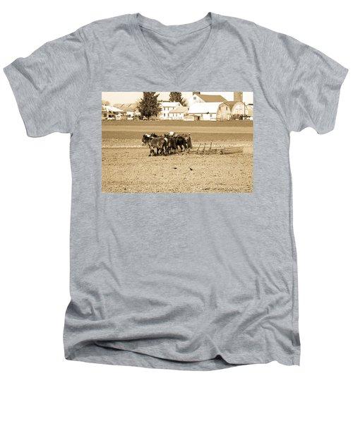 Amish Farm Men's V-Neck T-Shirt by Menachem Ganon