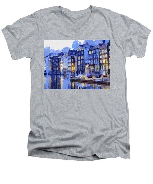 Amsterdam With Blue Colors Men's V-Neck T-Shirt by Georgi Dimitrov