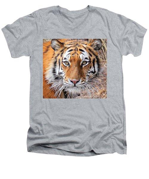 Amur Tiger Portrait Men's V-Neck T-Shirt