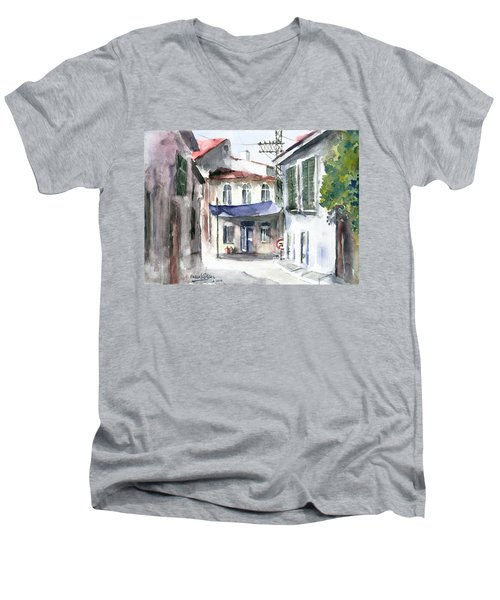 Men's V-Neck T-Shirt featuring the painting An Authentic Street In Urla - Izmir by Faruk Koksal