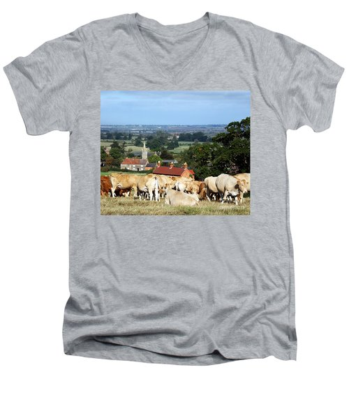 An English Summer Landscape Men's V-Neck T-Shirt by Linsey Williams