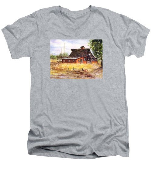 An Old Red Barn Men's V-Neck T-Shirt