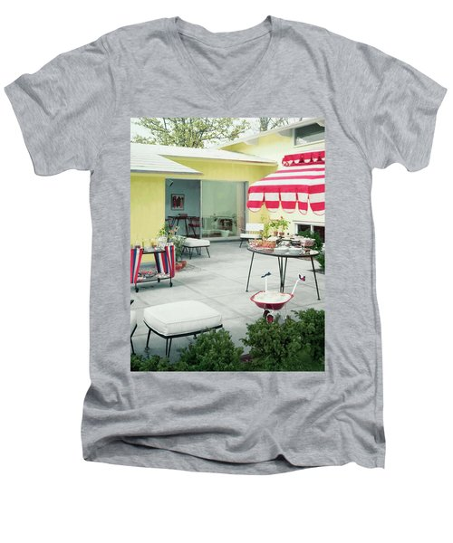 An Outside Area Set Up For A Party Men's V-Neck T-Shirt