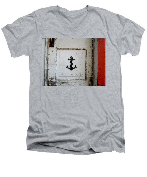 Anchor On Old Door Men's V-Neck T-Shirt by Kathy Barney