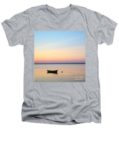 Men's V-Neck T-Shirt featuring the photograph Anchored At Sunset by Kennerth and Birgitta Kullman