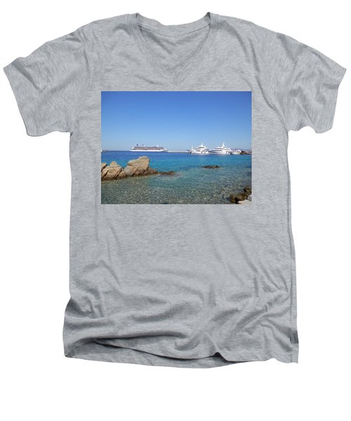 Anchored Ships Men's V-Neck T-Shirt by Pema Hou