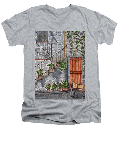 Ancient Grey Stone Residence Men's V-Neck T-Shirt