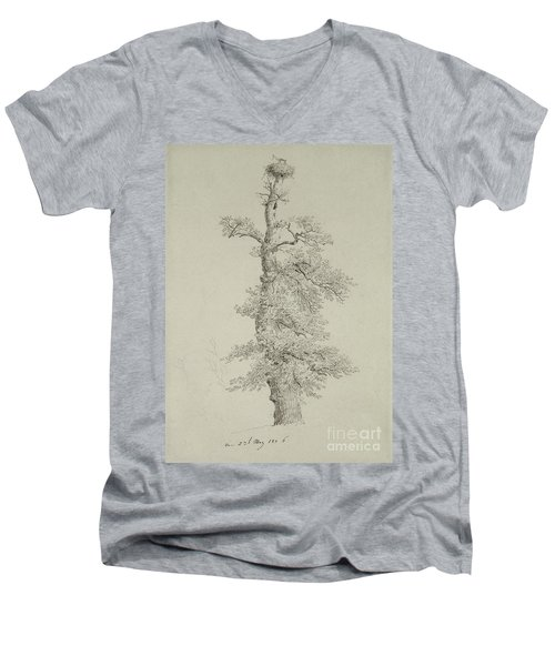 Ancient Oak Tree With A Storks Nest Men's V-Neck T-Shirt