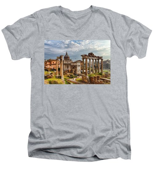 Ancient Roman Forum Ruins - Impressions Of Rome Men's V-Neck T-Shirt