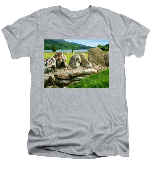 Ancient Stone Wall At Loch Achray Men's V-Neck T-Shirt