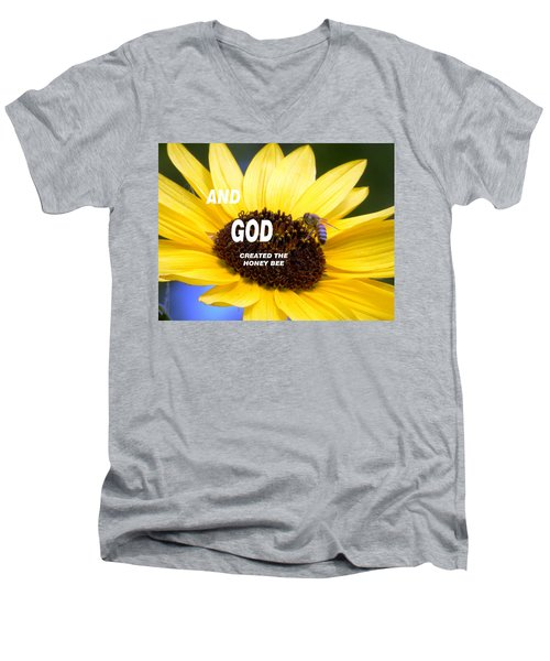 And God Created The Honey Bee Men's V-Neck T-Shirt by Belinda Lee
