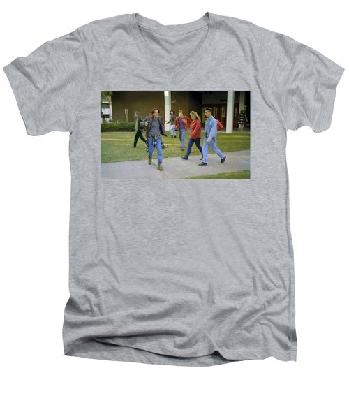 Men's V-Neck T-Shirt featuring the painting And I Looked Down At My Shoes . . . by Luis Ludzska
