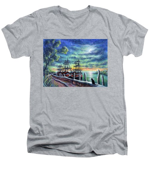 And We Shall Sail My Love And I Men's V-Neck T-Shirt by Retta Stephenson