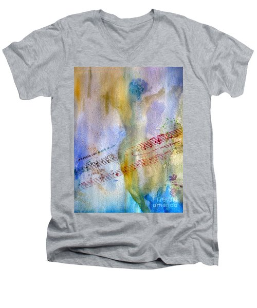 Men's V-Neck T-Shirt featuring the painting Andante Con Moto by Sandy McIntire