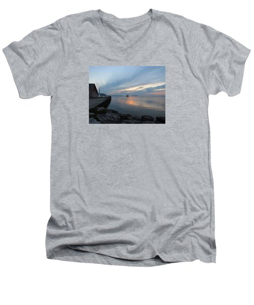 Anderson Dock Sunset Men's V-Neck T-Shirt by David T  Wilkinson