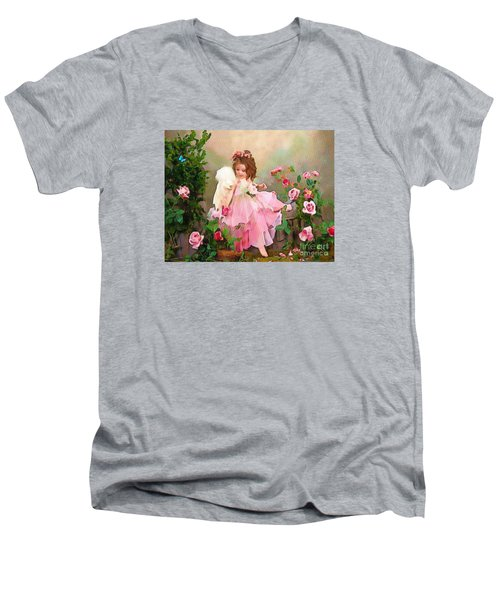 Angel And Baby  Men's V-Neck T-Shirt by Catherine Lott