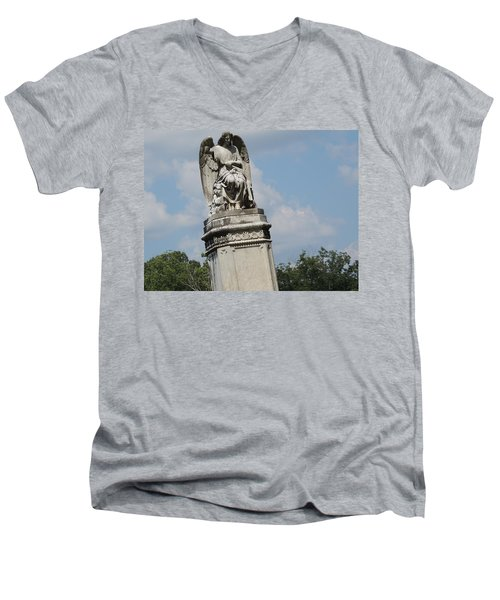 Men's V-Neck T-Shirt featuring the photograph Angel Made From Stone by Aaron Martens