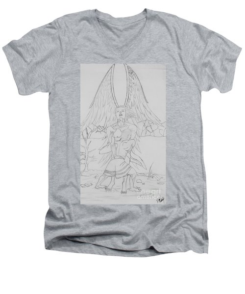 Angel Of God Struggle Men's V-Neck T-Shirt by Roberta Byram